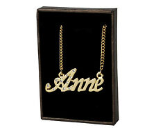 """Name Necklace """"ANNE"""" - 18ct Gold Plated - CZ Crystals  - Engagement Wedding Gift"""