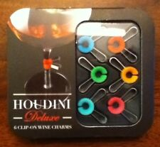 Houdini Deluxe clip-on wine charms, set of 6 colorful charms, metrokane