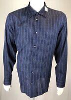Mens Calvin Klein XL Midnight Blue w/ Blue Floral Engraved Stripes Cotton Shirt