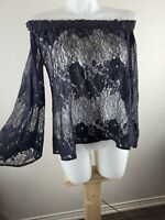 Forever 21 Women Sheer Black Lace Top Shirt Blouse Long Sleeves Sz Small
