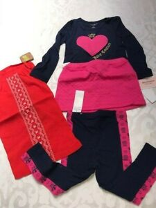 New set of 3 Juicy Couture pink blue pants + top+ skirt +dress baby girl 2T $105