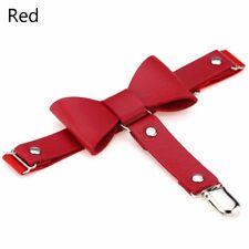 Women Punk Gothic Leather Leg Ring Socks Elastic Bow Knot Garter Belt Red