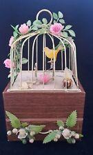 Vintage Swinging Yellow Bird Cage Music Jewelry Box Drawer Japan