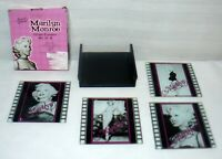 Marilyn Monroe Glass Coasters Set of 4 with Holder and Original Box Norma Jean