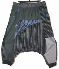 Desigual Funky Black/Gray Striped/Patchwork Cropped Cotton Pants 44 XL 17""
