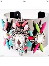 Multi Gem Pewter Statement Bracelet Cuff •Wedding Party Gift PRESENT Birthday