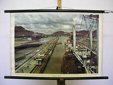 Belles écoles carte la fresque CANAL DE PANAMA navire itinéraires 75x51 VINTAGE MAP ~ 1958