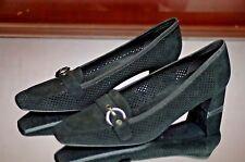STUART WEITZMAN Women's Black Suede Buckle Accent Pumps Heels Size 8W 8 W