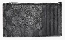 COACH 'Signature CC' Men's Coated Canvas Zip Card Case Slim Charcoal / Black NWT