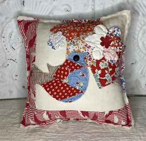 NEW Handmade Bird & Flowers Pillow Vintage Quilt Chenille Bedspread  Adorable!