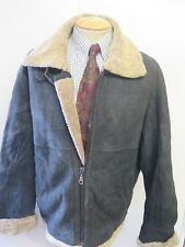 "Vintage B3 Real Shearling Sheepskin Bomber Aviator Leather Jacket L 44"" Euro 54"