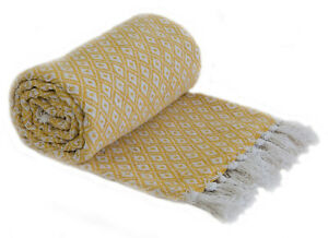 Cotton Two Tone Diamond Throw Chair Sofa Bed Couch Fringed Blanket Ochre Yellow