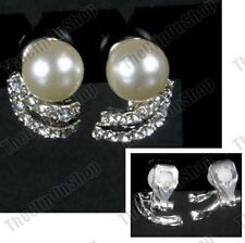 CLIP ON CREAM PEARL CRYSTAL silver rhinestone VINTAGE STYLE non-pierced EARRINGS