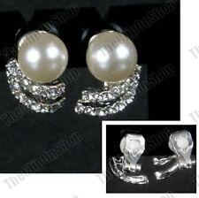 CLIP ON CREAM PEARL CRYSTAL silver rhinestone VINTAGE STYLE non-pierced EARRINGS