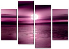 4 PANEL TOTAL SIZE 90x70cm  ART ABSTRACT PICTURE PRINT MOUNTED CLIMAX Plum