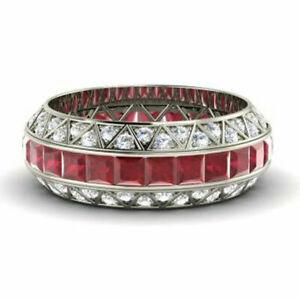 3.50 Carat Real Diamond Ruby Gemstone Ring 14K Solid White Gold Size L M N O P Q