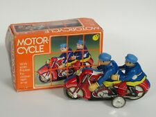 """Police Officer Motorcycle Duo Tin Friction Toy Mf-162 China ~ 6"""""""