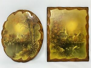 """2 Vintage Lacquered Andres Orpinas Art On Wood Wall Plaque 9x7"""" Oval Rectangle"""
