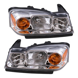 Pair Set Headlights Headlamps Lens Housing Assembly for 2006-2007 Saturn Vue SUV