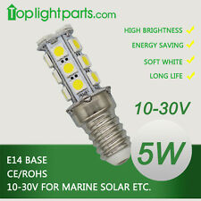(10pc) x 10-30V E14 3000K Warm White LED Light Lamp Bulb Marine Solar 12V 24V OK