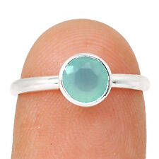 Faceted Aqua Chalcedony 925 Sterling Silver Ring Jewelry s.8 ACFR80