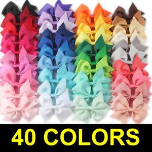 40PCS Handmade Bow Hair Clip Alligator Clips Girls Ribbon Kids Sides Accessories