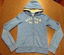 Abercrombie & fitch kids hooded zipper sweatshirt l/s sewn letters blue xl