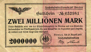 Geiger 003.3.c Reichsbahndirektion Breslau 2 Mio Mark 1923