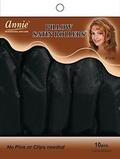 Annie Pillow Satin Rollers Cushion Hair Soft Curl Wave Black 10CT Large #1246