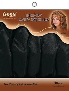 Annie Pillow Satin Rollers Cushion Hair Soft Curl Wave Black 10CT Large #1246