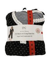 Flora Nikrooz 3/4 Sleeve Crop Pant Set Womens Lounge Set Medium Black 8-10 -MARK