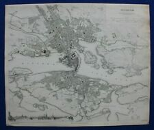 STOCKHOLM CITY PLAN, SWEDEN, original antique map, SDUK, 1844