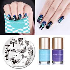 3Pcs/set Nail Art Stamping Plate Blue Purple Stamp Printing Polish NICOLE DIARY