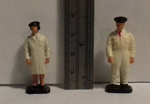 Vintage 1960s Dinky Toys BP or SHELL petrol gas pump attendants from set 782 783