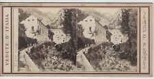 PHOTO ANCIENNE STEREOSCOPIQUE GEORGES SOMMER VUE D'AMALFI  ITALIE  CIRCA 1870