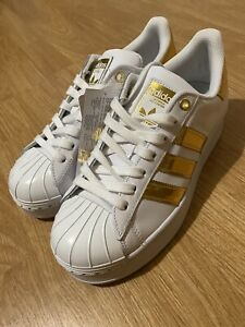 ADIDAS SUPERSTAR BOLD MT W WHITE AND GOLD WOMENS UK SIZE 6
