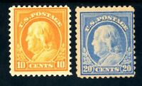 USAstamps Unused FVF US Series of 1917 Franklin Scott 510, 515 OG MLH