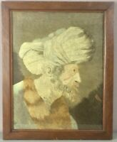 "ANTIQUE EMBROIDERY/NEEDLEWORK PORTRAIT__16""x20""__Bearded Old Man__SHIPS FREE"