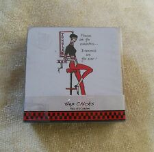Hep Chicks Pack of 6 Coasters Designed By Lizzie Huxtable