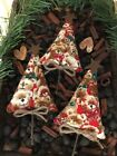 Set Of 3 Primitive Christmas Tree Bowl Fillers Teddy Bears Red Rusty Star