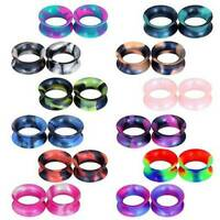 2PCS Silicone Flexible Ear Gauges Plugs Stretchers Double Flared Flesh Tunnels