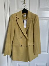 Yellow Checked Blazer/Jacket By Topshop - Size 8