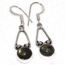 """Earrings 1.6"""" Ethnic Gift Gw Fiery Labradorite 925 Sterling Silver Plated"""