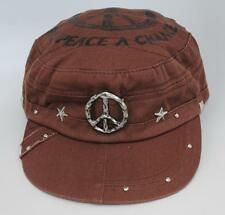 Hollywood Color Company Designer Military Cadet Cap Hat GIVE PEACE A CHANCE Adj