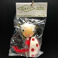 VTG NOS 60s MCM Christmas Ornament Flocked Pixie Ladybug Dickmal JAPAN Red White
