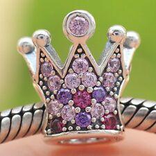 925 Sterling Silver Princess Crown Pave Pink CZ Charm Bead Fit European Bracelet