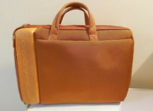 PIQUADRO burnt orange leather laptop briefcase/office bag made in Italy