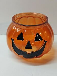 Halloween Vintage Orange Glass Pumpkin Jack-O-Lantern Tealight Candle Holder