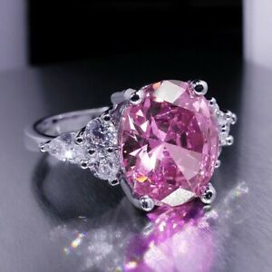 925 Silver Oval Cut Pink CZ Ring Wedding Engagement Jewellery for Women Girl