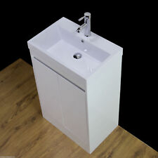 Vanity Unit Floor Standing Cabinet Basin Sink White Bathroom Tap Waste 600mm